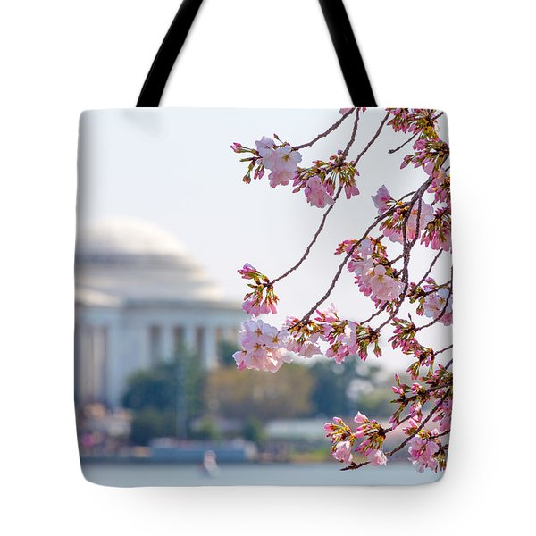 Cherry Blossoms And Jefferson Memorial Tote Bag