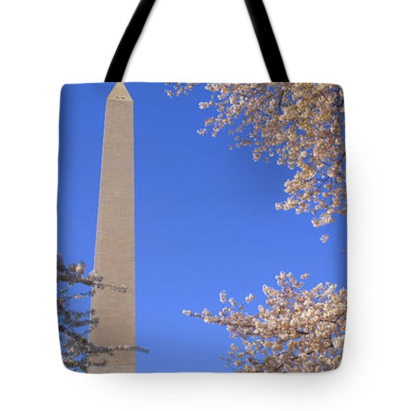 Cherry Blossoms And Washington Tote Bag by Panoramic Images