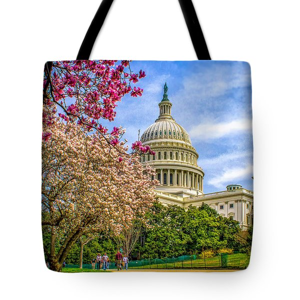Cherry Blossoms At The Capitol Tote Bag