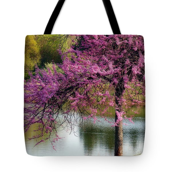 Tote Bag featuring the photograph Cherry Blossoms By The Pond by Sue Melvin
