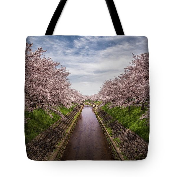 Tote Bag featuring the photograph Cherry Blossoms In Nara by Rikk Flohr