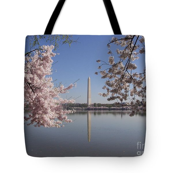 Cherry Blossoms Monument Tote Bag by April Sims