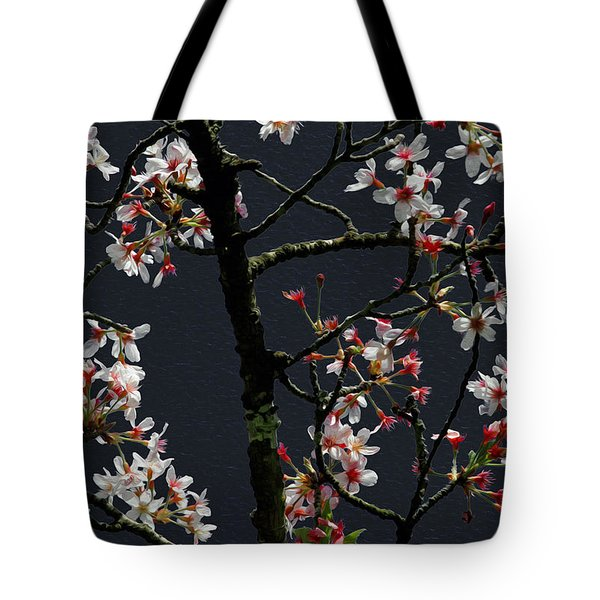 Cherry Blossoms On Dark Bkgrd Tote Bag
