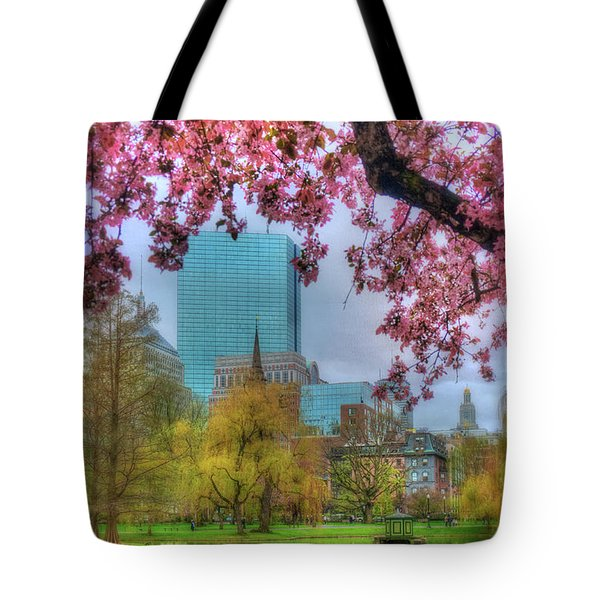 Tote Bag featuring the photograph Cherry Blossoms Over Boston by Joann Vitali