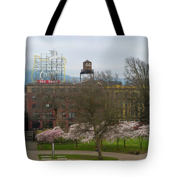 Cherry Blossoms Trees In Portland Old Town Tote Bag