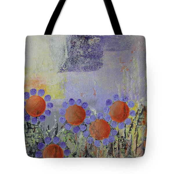 Tote Bag featuring the painting Cheery Flowers by April Burton
