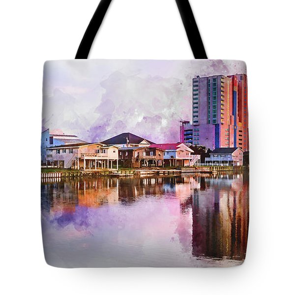 Cherry Grove Skyline - Digital Watercolor Tote Bag