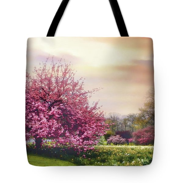 Tote Bag featuring the photograph Cherry Orchard Hill by Jessica Jenney