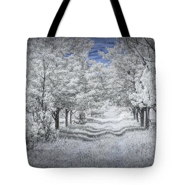Cherry Orchard Roadway In Infrared Tote Bag