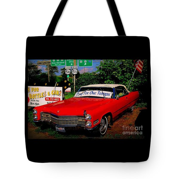 Cherry Red American Patriot 1966 Cadillac Coupe De Ville Tote Bag by Peter Gumaer Ogden