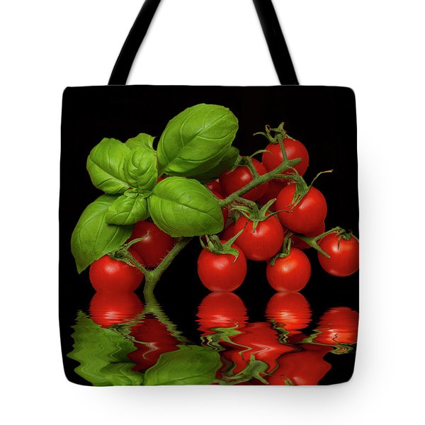 Tote Bag featuring the photograph Cherry Tomatoes And Basil by David French