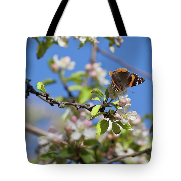 Monarch Butterfly On Cherry Tree Tote Bag