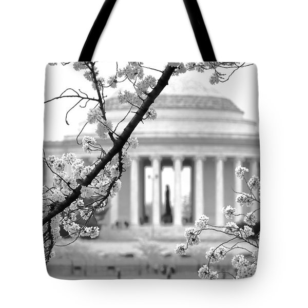 Cherry Tree And Jefferson Memorial Elegance  Tote Bag