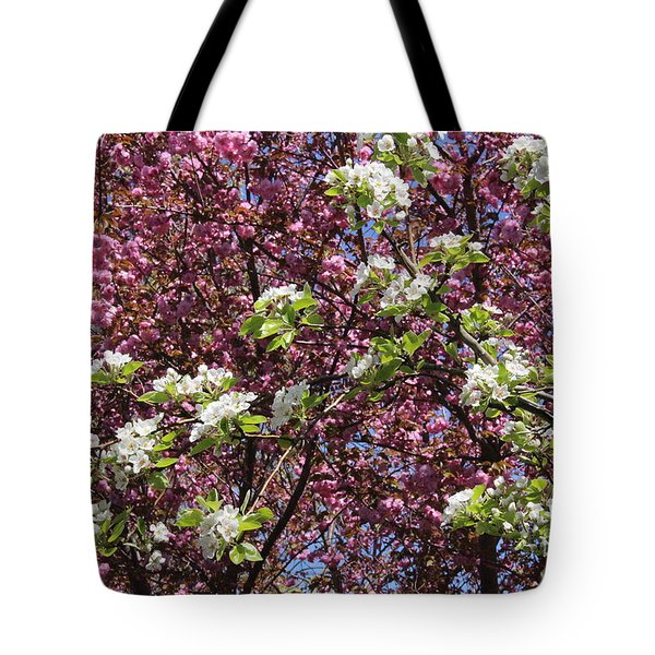 Cherry Tree And Pear Blossoms Tote Bag by Dora Sofia Caputo Photographic Art and Design