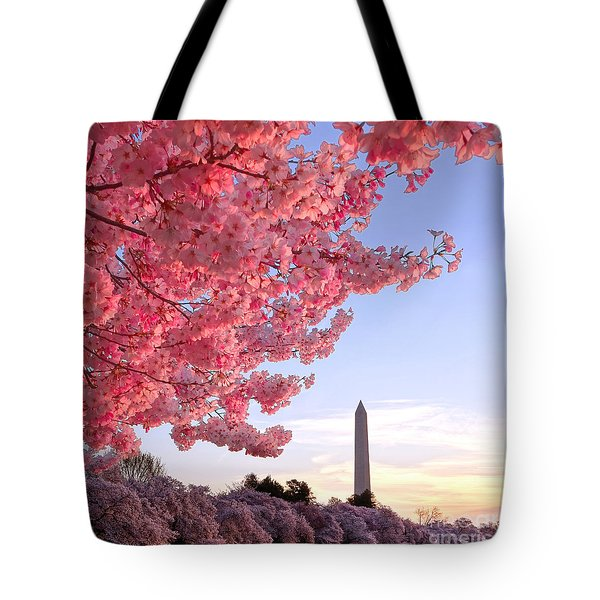 Cherry Tree And The Washington Monument  Tote Bag