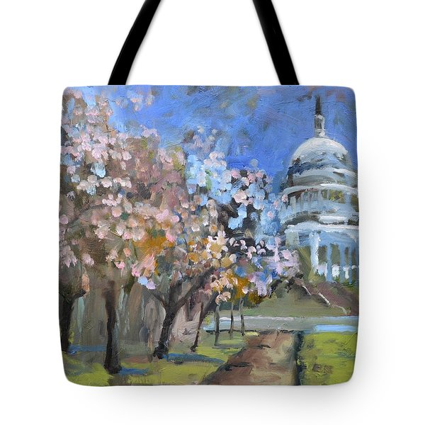 Cherry Tree Blossoms In Washington Dc Tote Bag