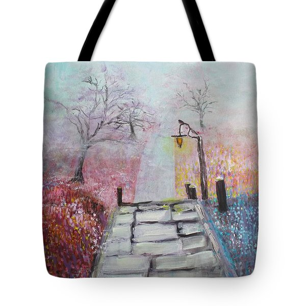 Cherry Trees In Fog Tote Bag
