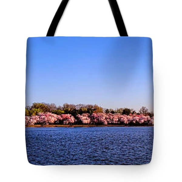 Cherry Trees On The Tidal Basin And Washington Monument  Tote Bag