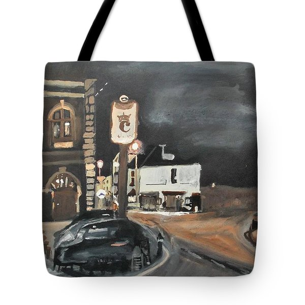Chertsey At Night 1 Tote Bag by Carole Robins
