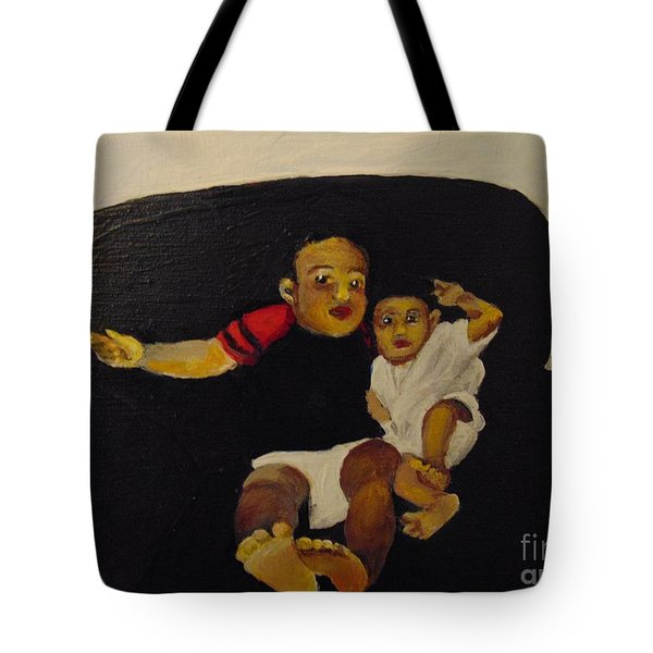 Tote Bag featuring the painting Cherubs by Saundra Johnson