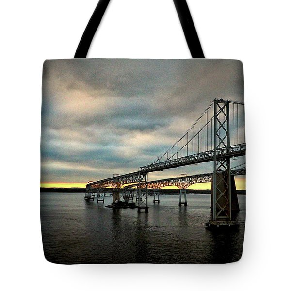 Chesapeake Bay Bridge At Twilight Tote Bag