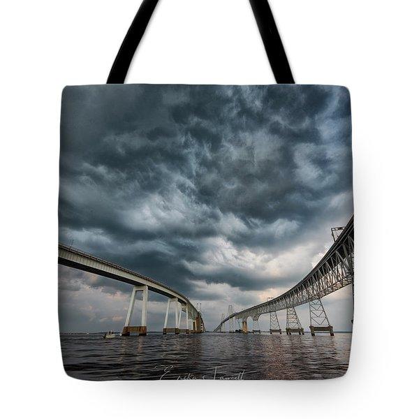 Chesapeake Bay Bridge Storm Tote Bag