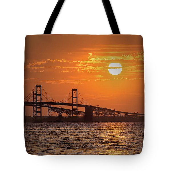 Chesapeake Bay Bridge Sunset II Tote Bag
