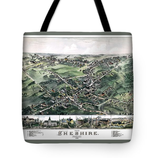 Cheshire Connecticut 1882 Map Tote Bag