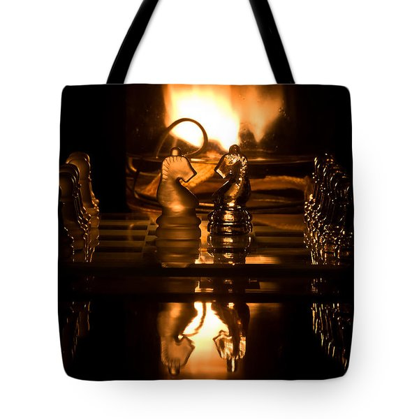 Chess Knights And Flame Tote Bag