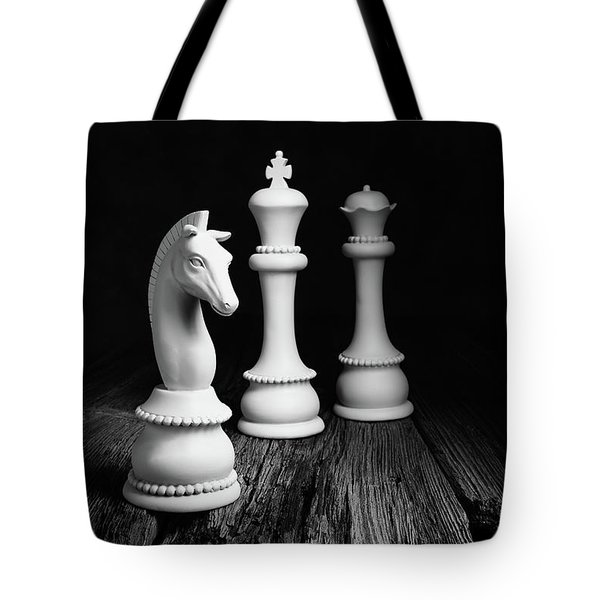 Chess Pieces On Old Wood Tote Bag