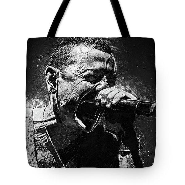 Tote Bag featuring the photograph Chester Bennington by Taylan Apukovska