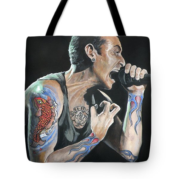 Chester Bennington Tote Bag by Tom Carlton