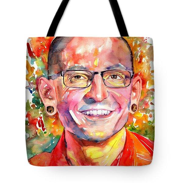 Chester Bennington Watercolor Tote Bag