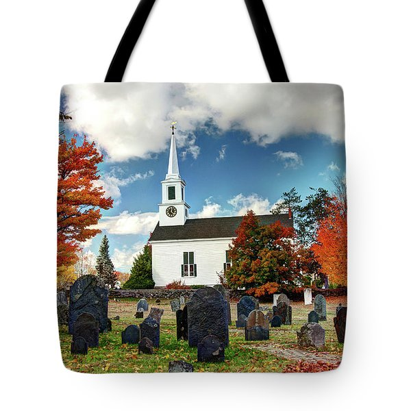Tote Bag featuring the photograph Chester Village Cemetery In Autumn by Wayne Marshall Chase