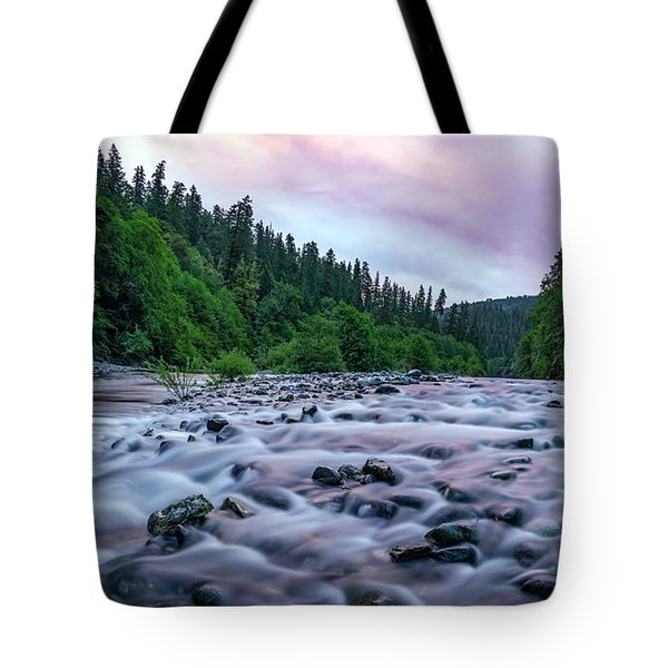 Chetco River Sunset 2 Tote Bag by Leland D Howard