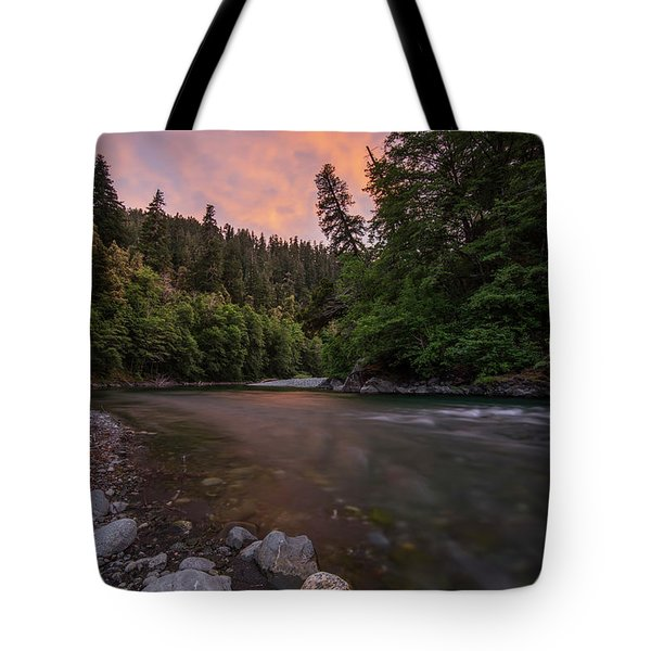 Chetco River Sunset Tote Bag by Leland D Howard