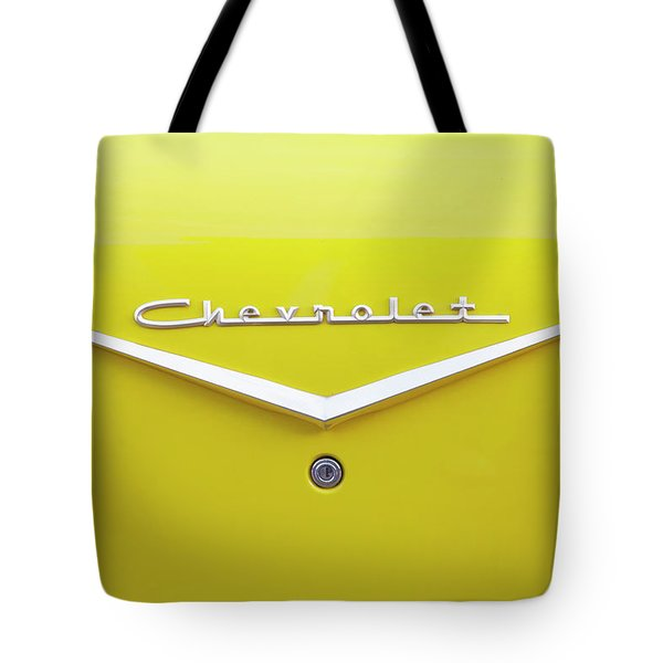 Tote Bag featuring the photograph Chevrolet Bel Air In Yellow by Toni Hopper