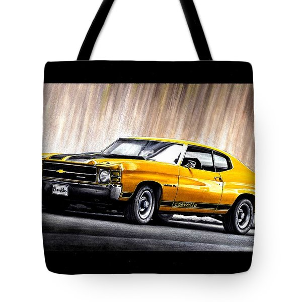 Chevrolet Car In Yellow Tote Bag