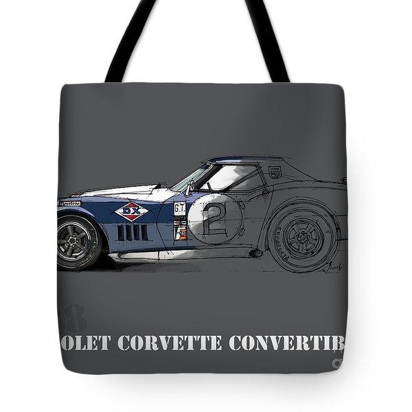 Chevrolet Corvette Convertible L88 1968, Ink And Markers Art Print Tote Bag