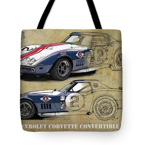 Chevrolet Corvette Convertible L88 1968,original Fast Race Car. Two Drawings, One Print Tote Bag