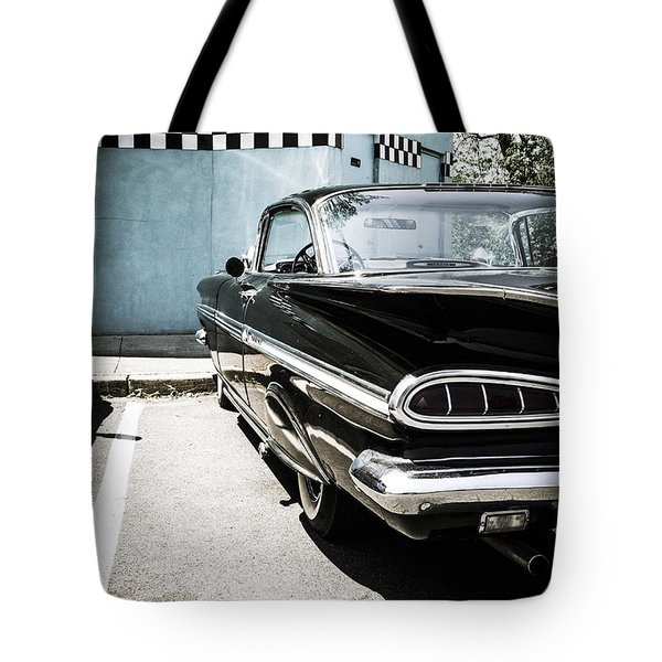 Chevrolet Impala In Front Of American Diner Tote Bag