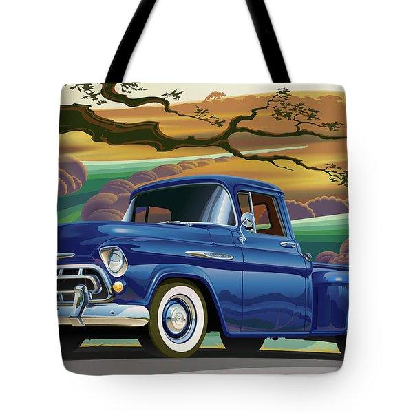 1957 Chevrolet 3100 Truck Under A California Oak Tote Bag