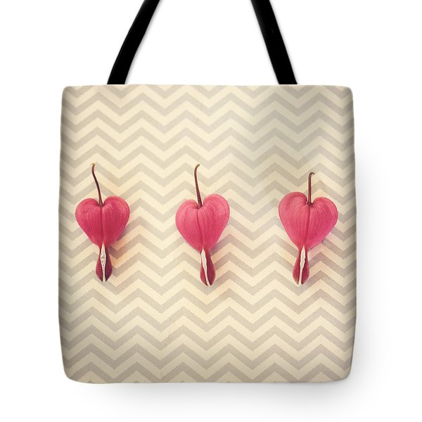 Chevron Hearts Tote Bag