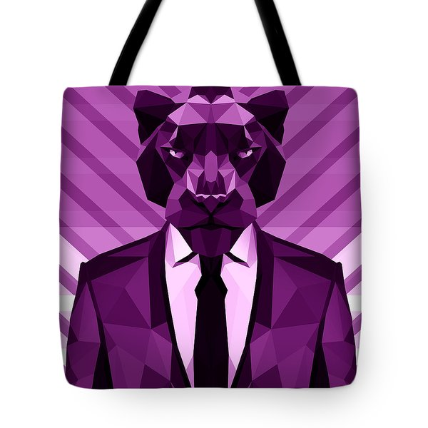 Chevron Panther Tote Bag by Gallini Design