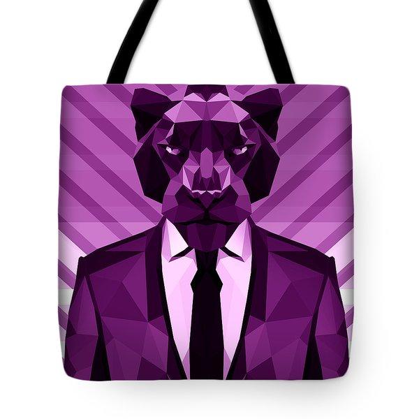 Chevron Panther Tote Bag