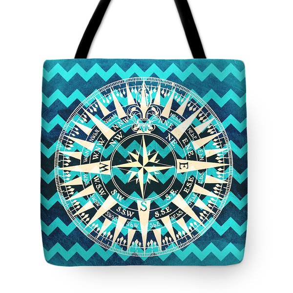Chevron Print Compass Blue Tote Bag
