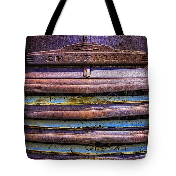 Tote Bag featuring the photograph Chevy 3100 Grill by Bitter Buffalo Photography