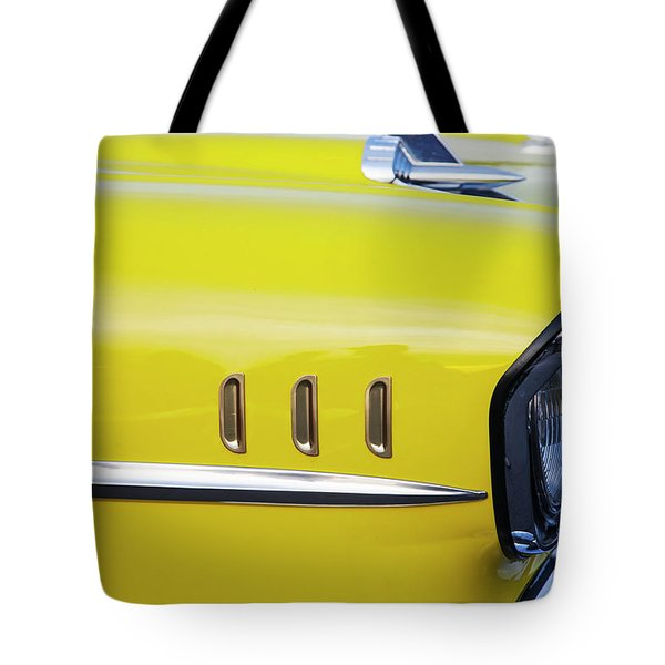 Tote Bag featuring the photograph Chevy Bel Air Abstract In Yellow by Toni Hopper