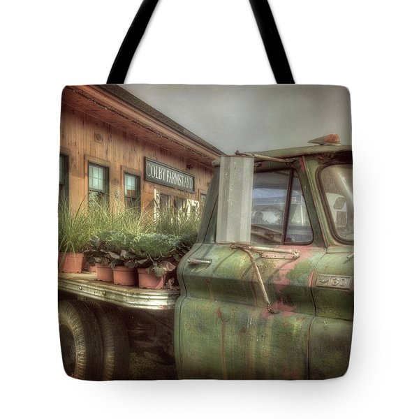 Tote Bag featuring the photograph Chevy C 30 Pickup Truck - Colby Farm by Joann Vitali