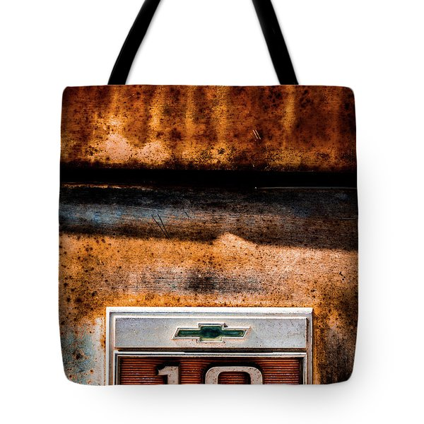 Chevy C10 Rusted Emblem Tote Bag
